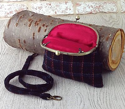 harris tweed bag with removeable shoulder strap