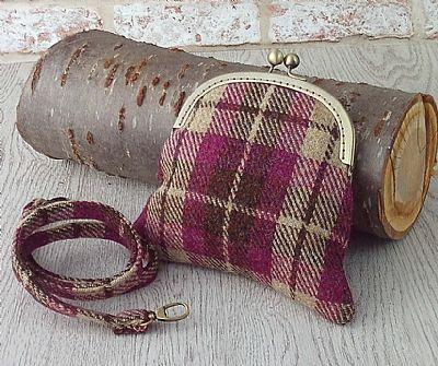 harris tweed bag with removable shoulder strap