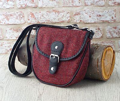 harris tweed shoulderbag in red and grey herringbone by roses workshop