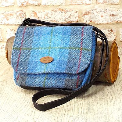 harris tweed shoulderbag in blue tartan by roses workshop