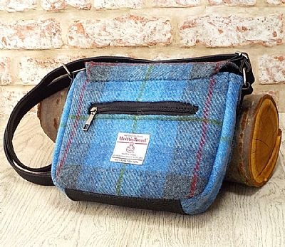 back of blue tartan harris tweed shoulderbag by roses workshop