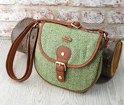harris tweed shoulderbag in green herringbone by roses workshop