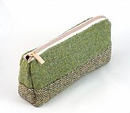 Harris tweed makeup bag green