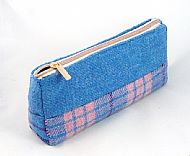 Harris tweed makeup bag pink and blue