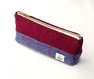 Harris tweed makeup bag purple magenta