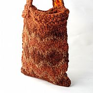 Herdwick wool chunky knit bag russet orange