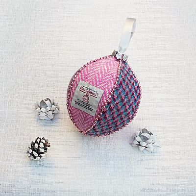 harris tweed christmas tree decoration in pink blue and magents by roses workshop