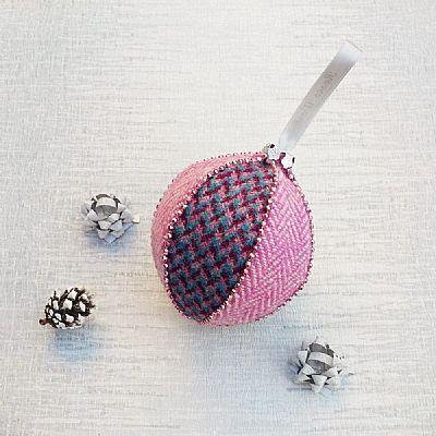 pink blue and magenta harris tweed bauble by roses workshop