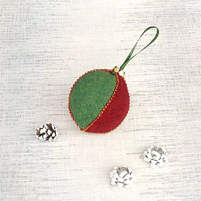 harris tweed red and green bauble by roses workshop