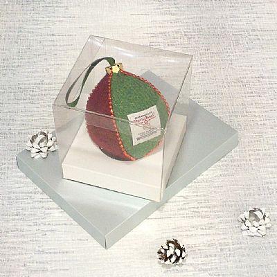 harris tweed bauble by roses workshop in display box