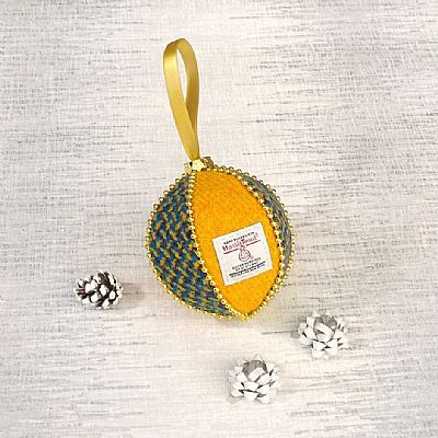 yellow and blue harris tweed christmas tree decoration by roses workshop