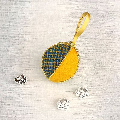 roses workshop harris tweed christmas decoration in yellow and blue