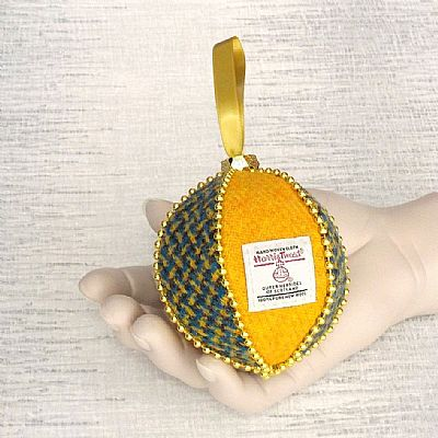 harris tweed blue and gold christmas bauble by roses workshop
