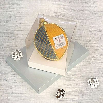 yellow and blue harris tweed bauble in display box