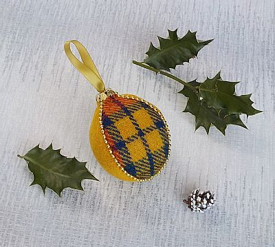 harris tweed yellow tartan christmas decoration by roses workshop