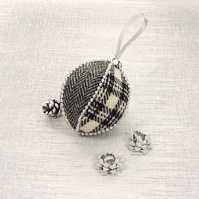 monochrome christmas bauble handmade from harris tweed by roses workshop