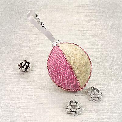 harris tweed pink herringbone christmas tree decoration by roses workshop