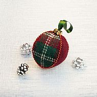 Harris tweed Christmas bauble red and green