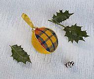 Harris tweed Christmas tree bauble yellow gold