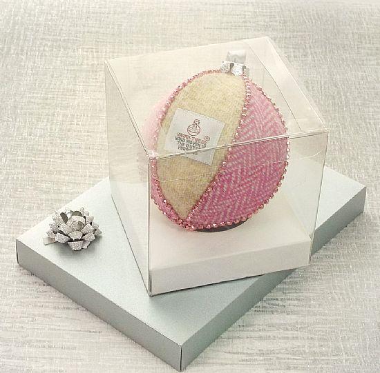 harris tweed fabric bauble pink and cream herringbone by roses workshop