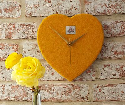 harris tweed golden yellow heart shaped clock by roses workshop