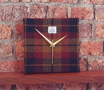 harris tweed square clock autumn colours by roses workshop