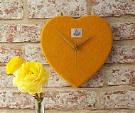Harris tweed clock orange gold heart