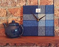 Blue and white Harris tweed square clock