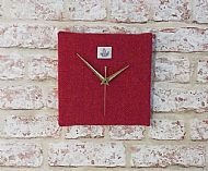 Pink and orange herringbone square clock