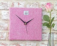 Harris tweed square clock pink and cream