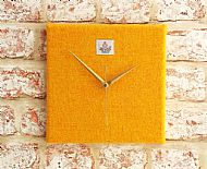 Golden yellow Harris tweed square clock