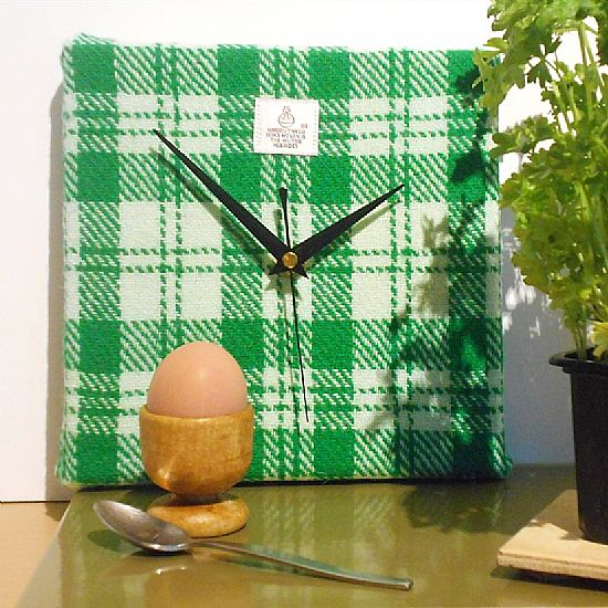 green and white check harris tweed square clock by roses workshop