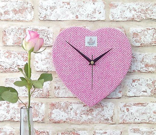 harris tweed heart clock in pink and cream herringbone by roses workshop