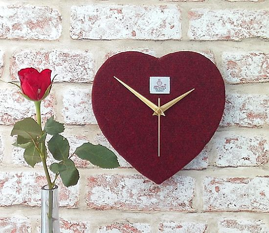 harris tweed valentine's day red heart clock by roses workshop