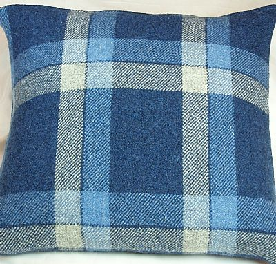 harris tweed cushion in blue and white check by roses workshop