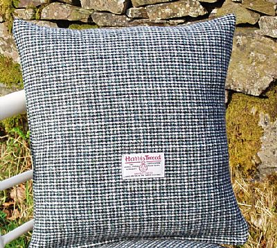blue grey harris tweed cushion