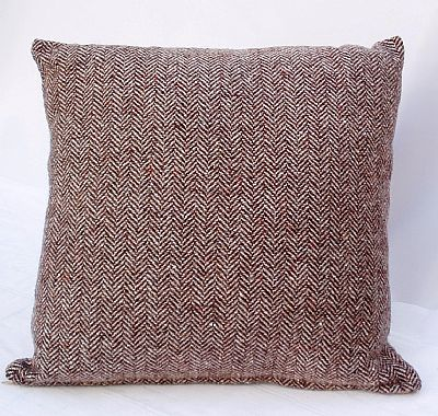 brown herringbone cushion by roses workshop