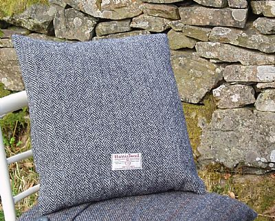 reverse of harris tweed cushion showing orb label
