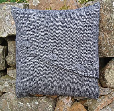 grey harris tweed cushion with diagonal opening