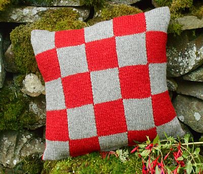 colourful shetland wool cushion hand-knitted by roses workshop