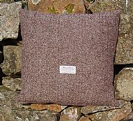 Brown herringbone Harris tweed small cushion cover