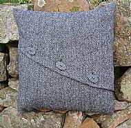 Celtic button grey herringbone small cushion cover
