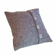 Celtic button grey herringbone Harris tweed cushion cover