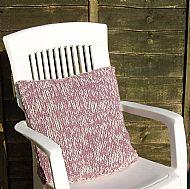 Extra chunky pink Shetland wool knitted cushion