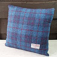 Blue and purple check Harris tweed cushion cover