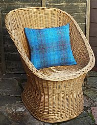 Bright blue and grey Harris tweed cushion cover