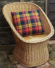 Bright tartan Harris tweed cushion cover