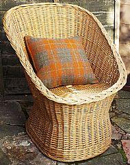 Orange brown tartan Harris tweed cushion cover