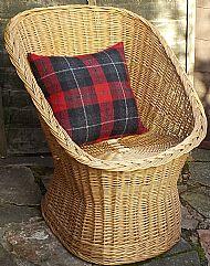 Red and black tartan Harris tweed cushion cover