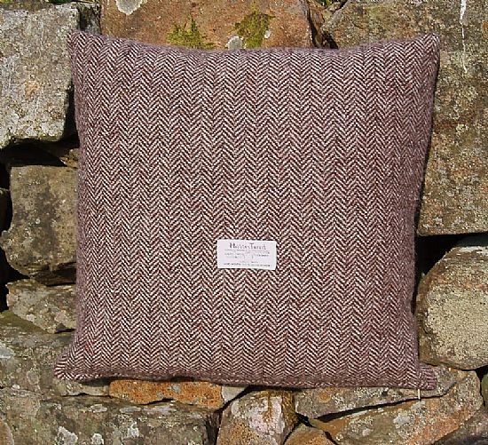 harris tweed brown herringbone cushion by roses workshop